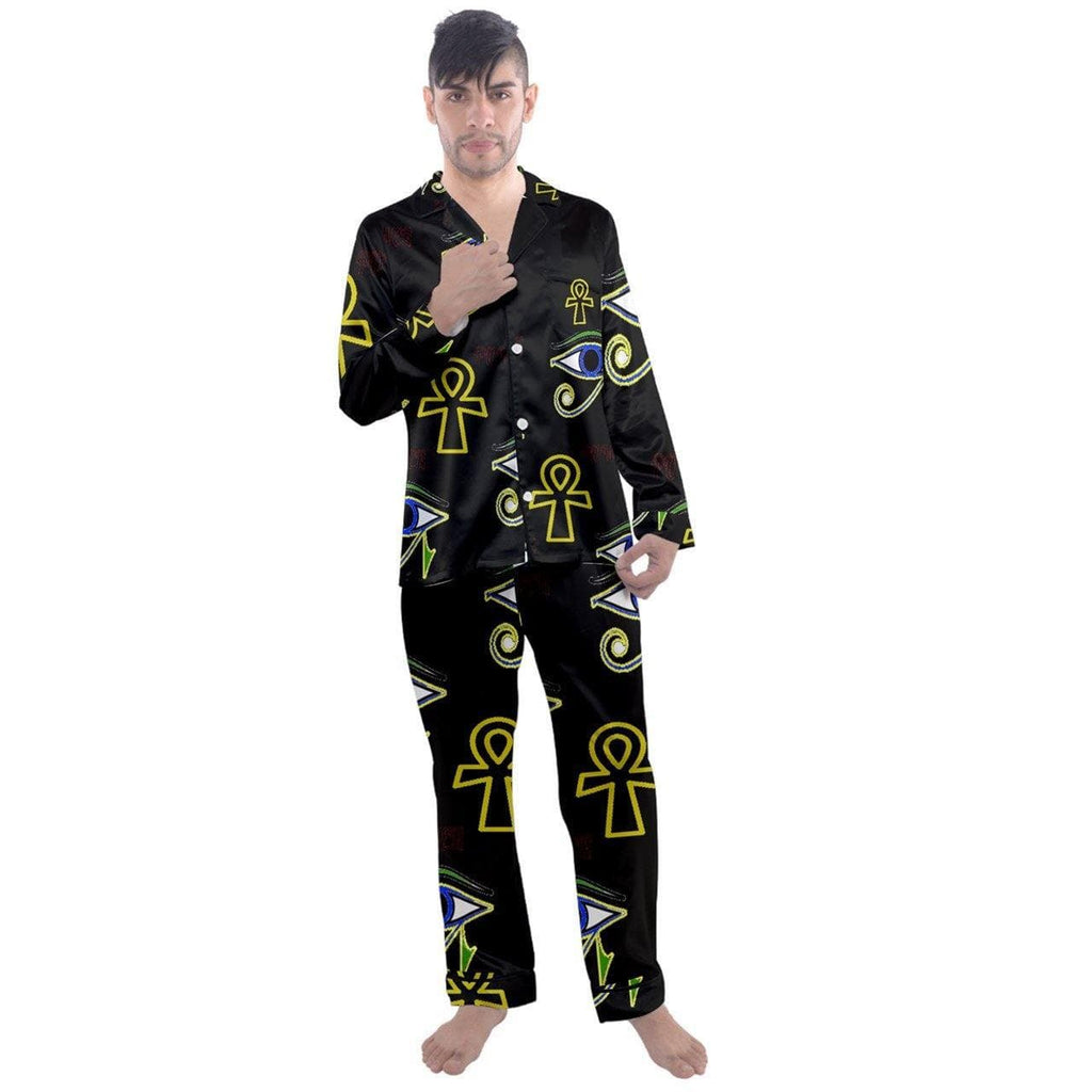 Power Clothing Men's Long Sleeve Satin Pyjamas Set - Tie-Fly