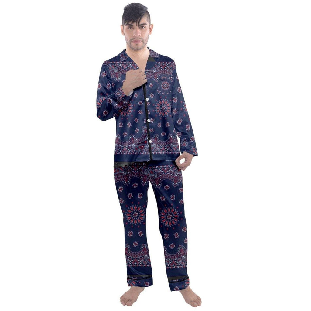 TSWG  Bandana Men's Long Sleeve Satin Pyjamas Set - Tie-Fly