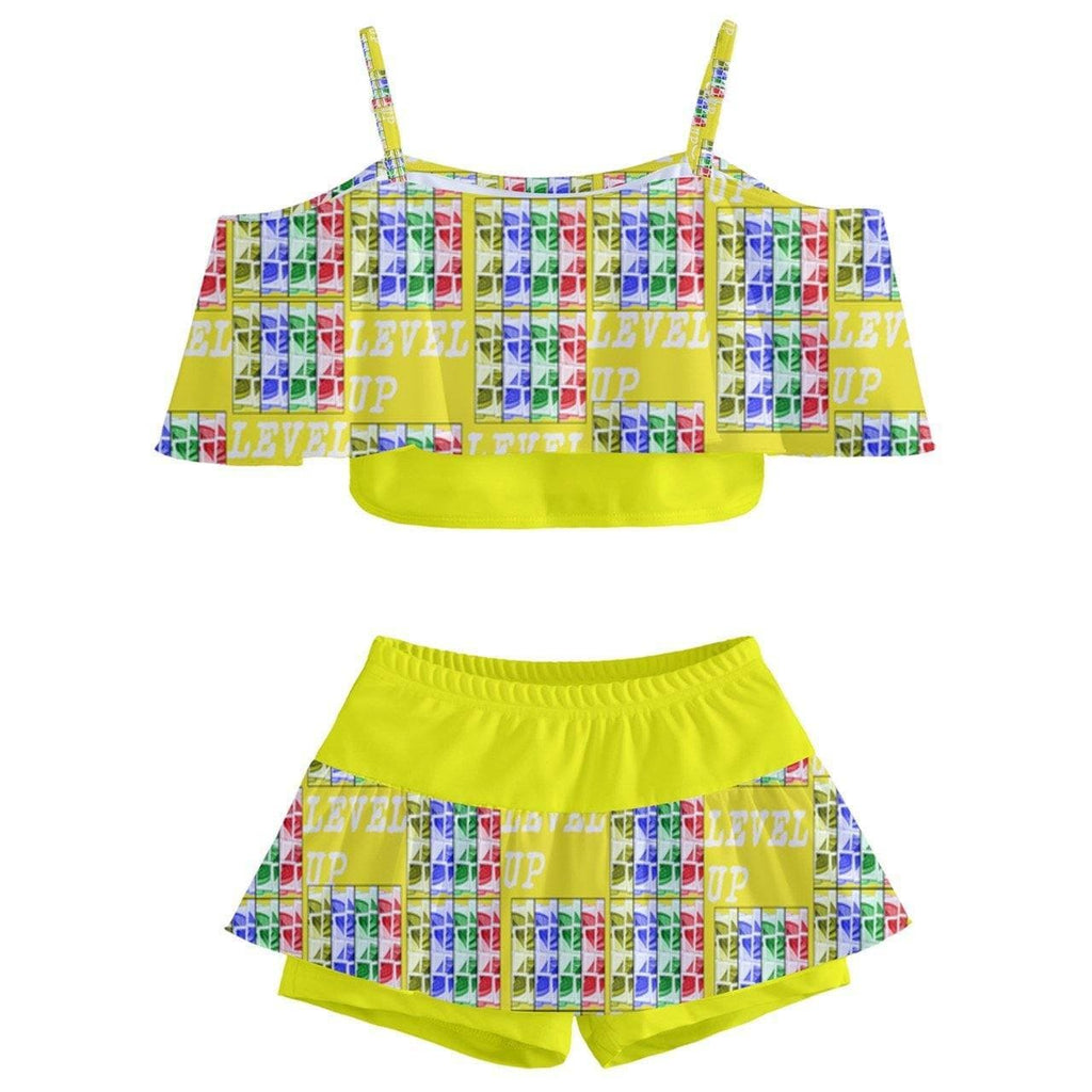 Level Up Kids' Off Shoulder Skirt Bikini - Tie-Fly