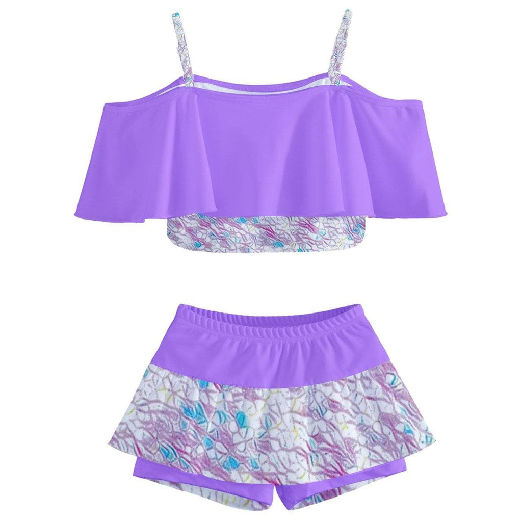 Royal Pallette Kids' Off Shoulder Skirt Bikini - Tie-Fly