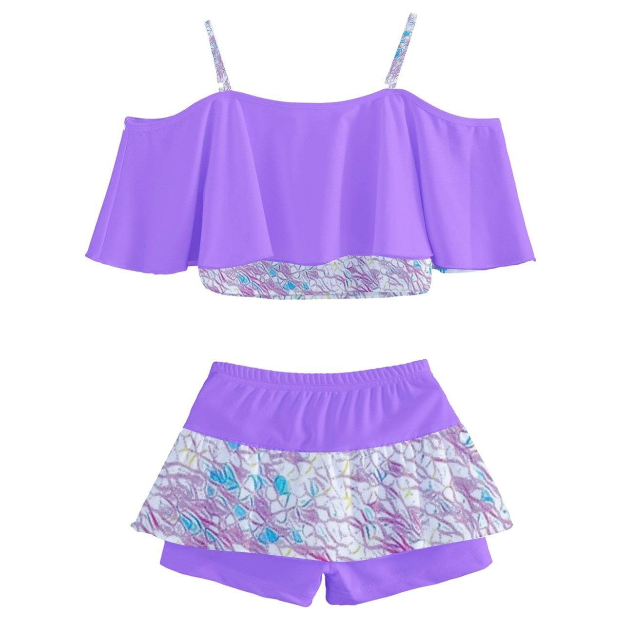 Royal Pallette Kids' Off Shoulder Skirt Bikini