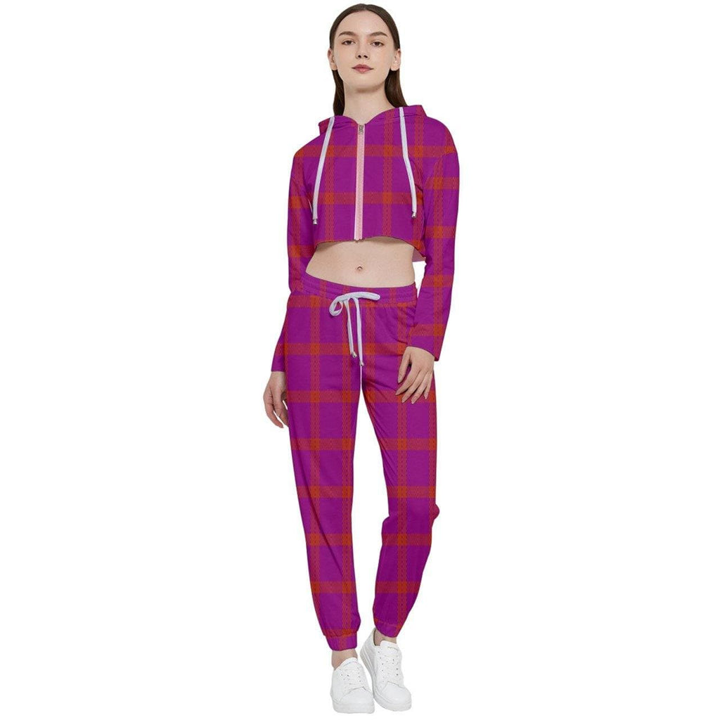 Perfusion Plaid Cropped Zip Up Lounge Set - Tie-Fly
