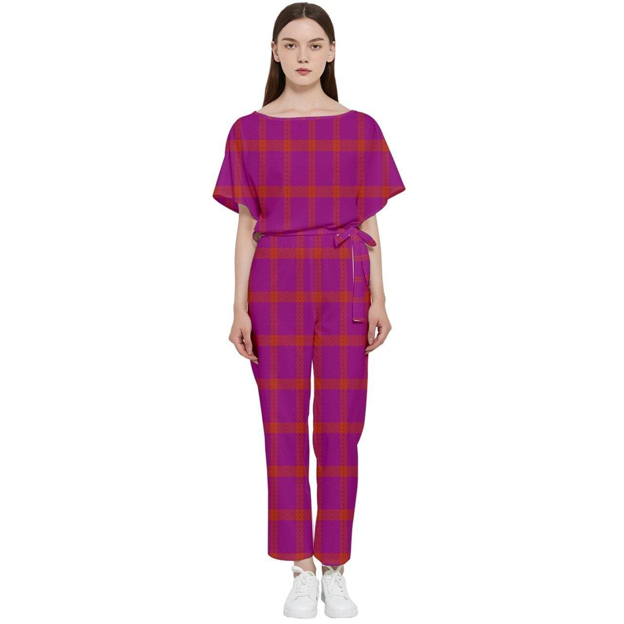 Perfusion Plaid Batwing Jumpsuit - 3 variations - Tie-Fly