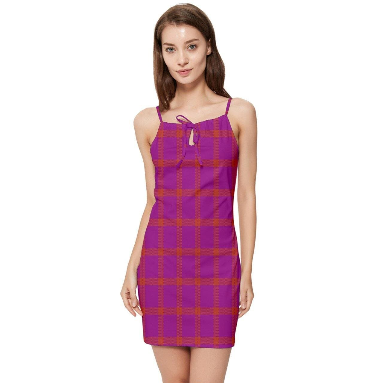 Perfusion Plaid Summer Tie Front Dress - Tie-Fly