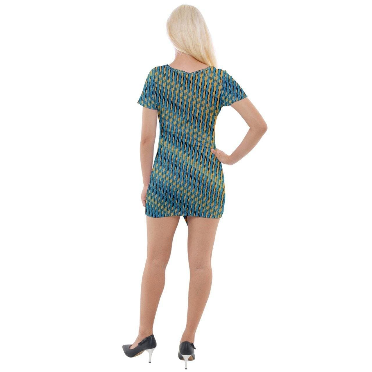 Weaved Short Sleeve Asymmetric Mini Dress - Tie-Fly