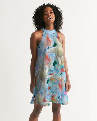 Midnight Floral  Women's Halter Dress - Tie-Fly