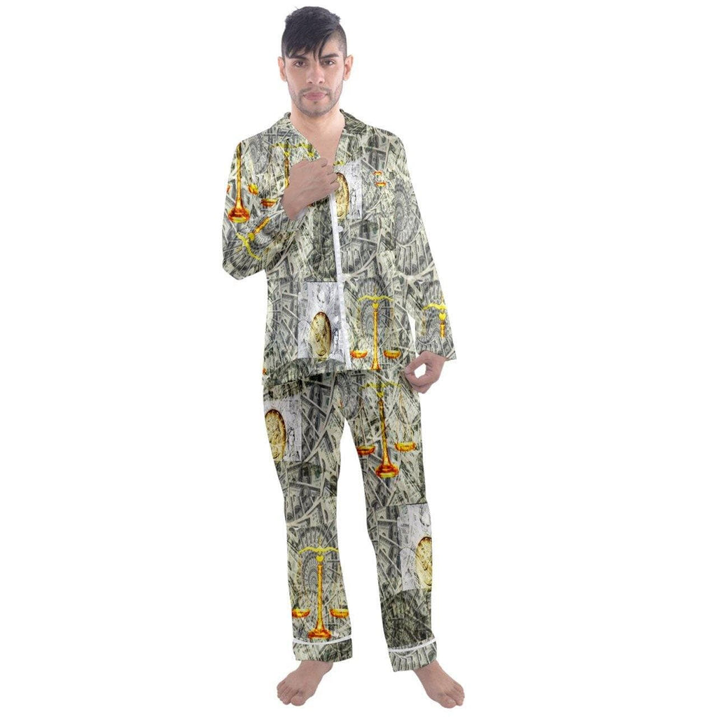 B.A.M.N Men's Long Sleeve Satin Pyjamas Set - Tie-Fly