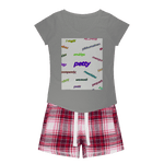 Load image into Gallery viewer, Petty Languages Womens Sleepy Tee and Flannel Short Set - Tie-Fly