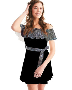 Geometric  Women's Off-Shoulder Dress - Tie-Fly