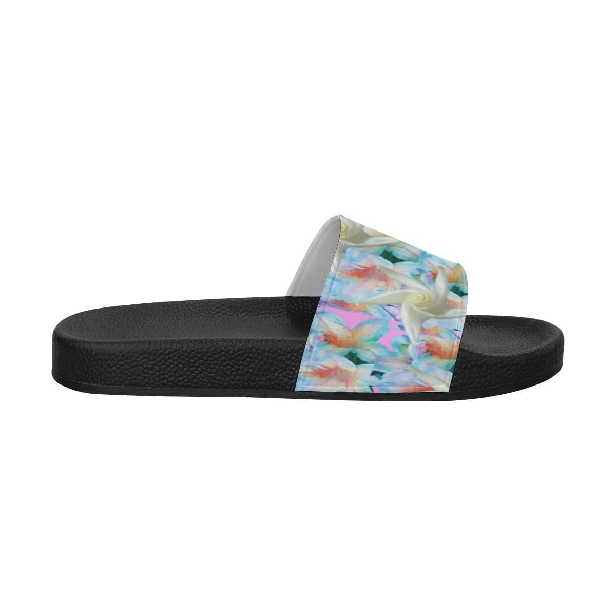 Midnight Floral Women's Slide Sandals, Flip Flops -tie - fly