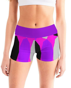 Royal Geo 3  Women's Mid-Rise Yoga Shorts - Tie-Fly