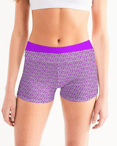 Petty Repeat - Purple Women's Mid-Rise Yoga Shorts - Tie-Fly