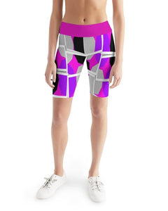 Royal Spread  Women's Mid-Rise Bike Shorts - Tie-Fly