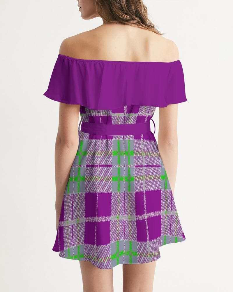Tribute to Plaid  Women's Off-Shoulder Dress - TFC&H Co.