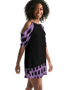 Royal Geo 2 Mini Women's Open Shoulder A-Line Dress - Tie-Fly
