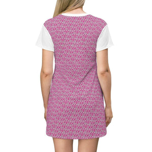 Petty Repeat T-shirt Dress - Pink - Tie-Fly
