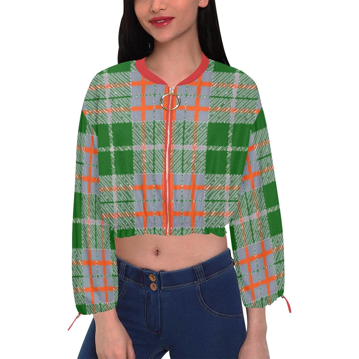 Tribute to Plaid Chiffon Cropped Jacket - Tie-Fly