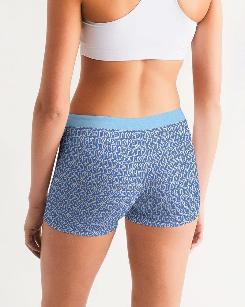 Petty Repeat - Blue Women's Mid-Rise Yoga Shorts - Tie-Fly