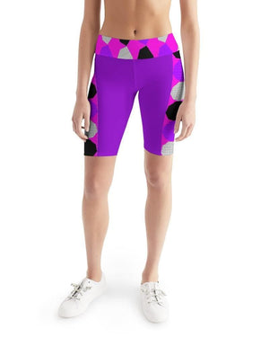 Royal Geo 3  Women's Mid-Rise Bike Shorts - Tie-Fly
