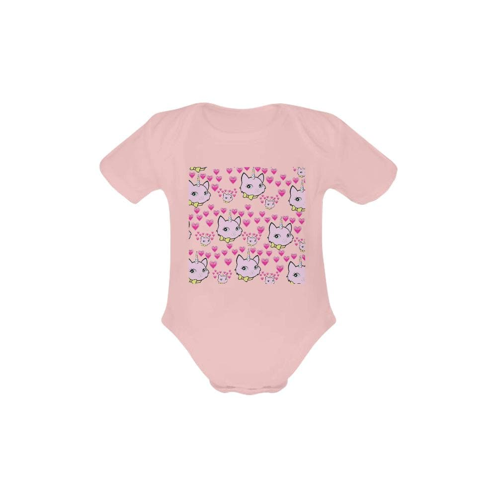 Bec & Friends Uni-Cat  Baby's Organic Short Sleeve One Piece - Tie-Fly
