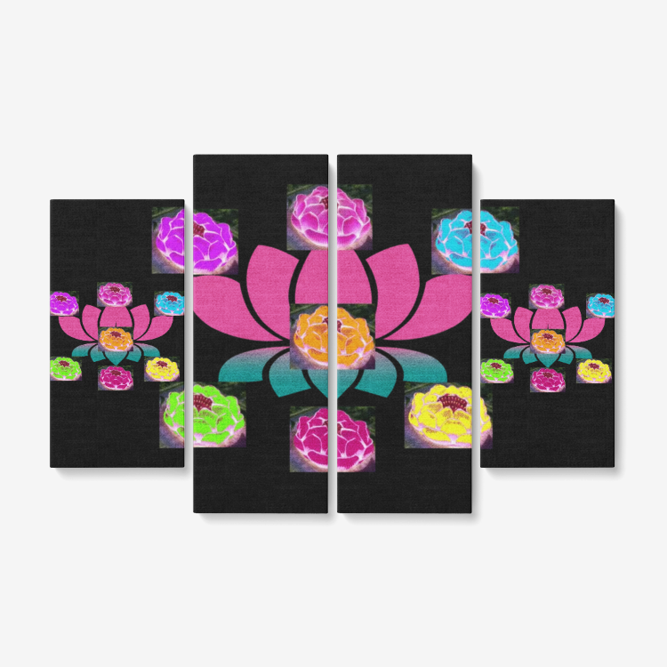 "Balance Home 4 Piece Canvas Wall Art for Living Room - Framed Ready to Hang 4x12""x32 - Tie-Fly"