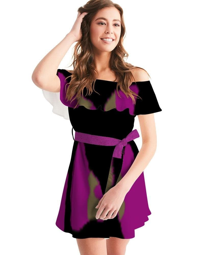 War Ready  Women's Off-Shoulder Dress - Tie-Fly