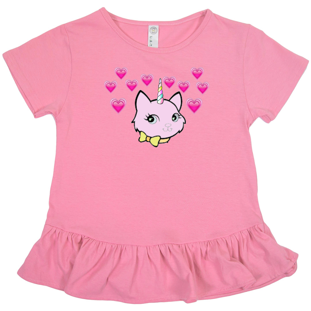 Bec & Friends Uni-Cat Kid's Ruffle Fine Jersey Tee - Tie-Fly