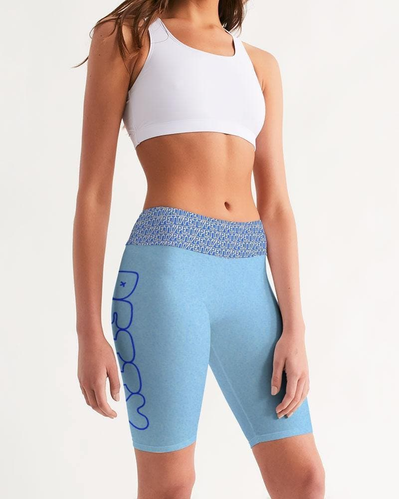 Petty Repeat - Blue Women's Mid-Rise Bike Shorts - Tie-Fly