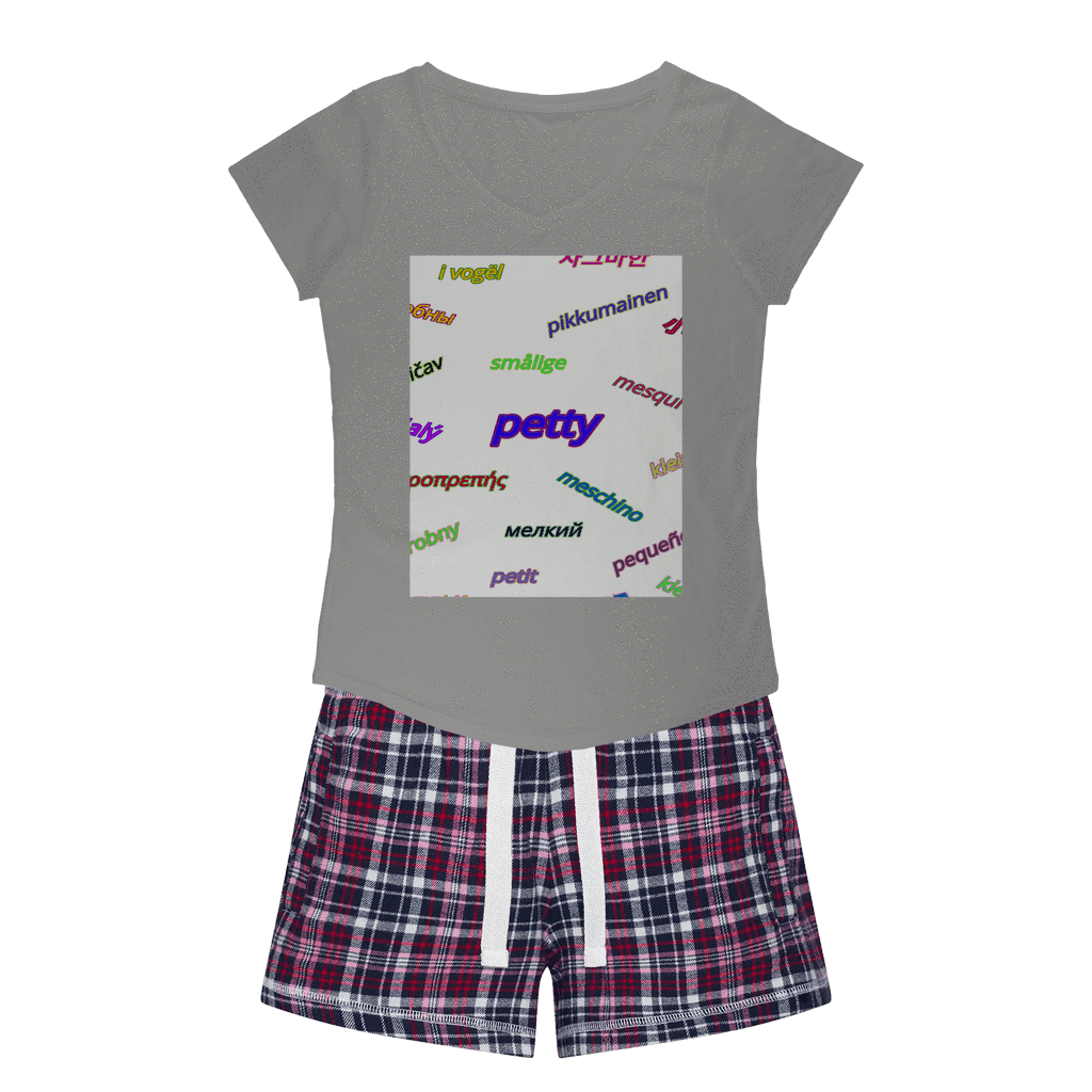 Petty Languages Womens Sleepy Tee and Flannel Short Set - Tie-Fly