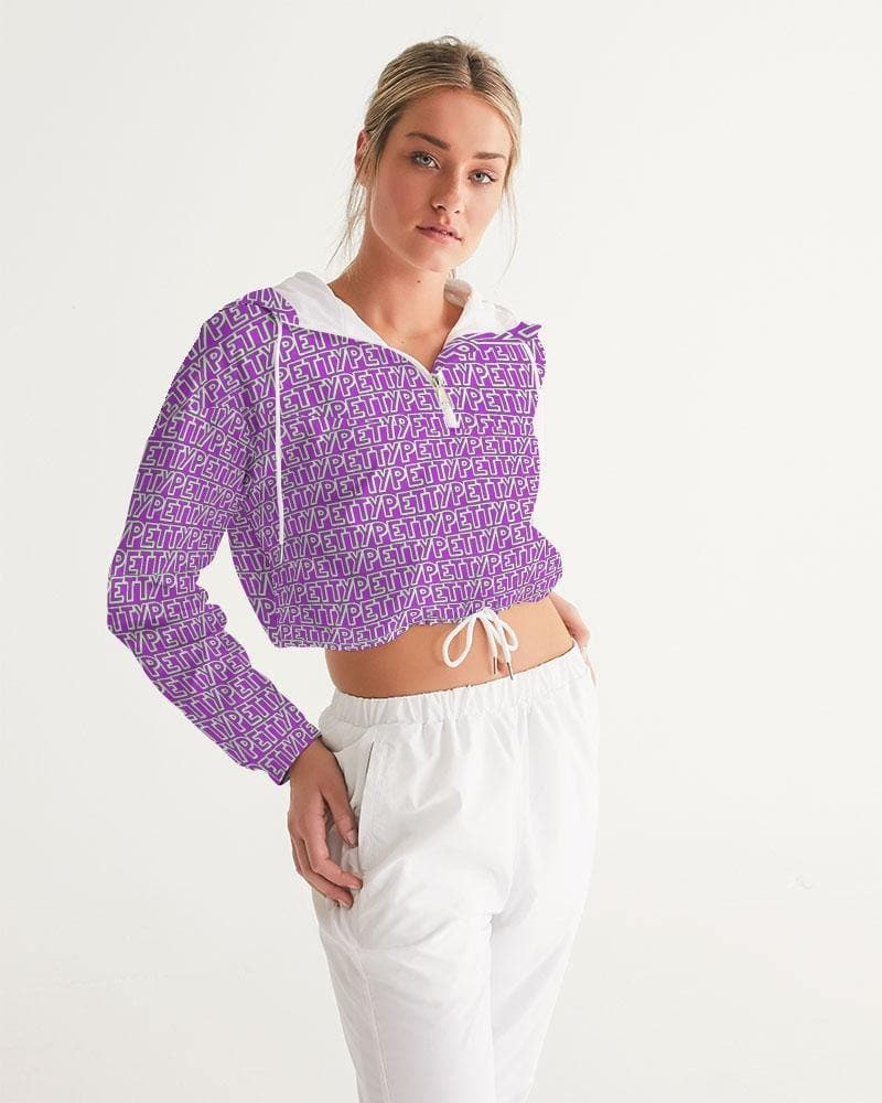 Petty Repeat - Purple Women's Cropped Windbreaker - Tie-Fly