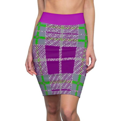 Tribute to Plaid Women's Pencil Skirt, All Over Prints -tie - fly
