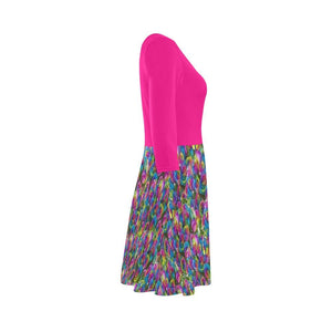 Psy-Rose 3/4 Sleeve Sundress - Tie-Fly