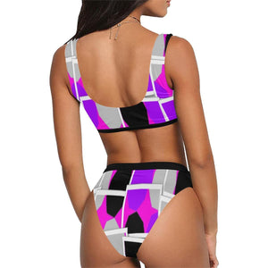 Royal Spread Sport Top & High Waisted Bikini - Tie-Fly