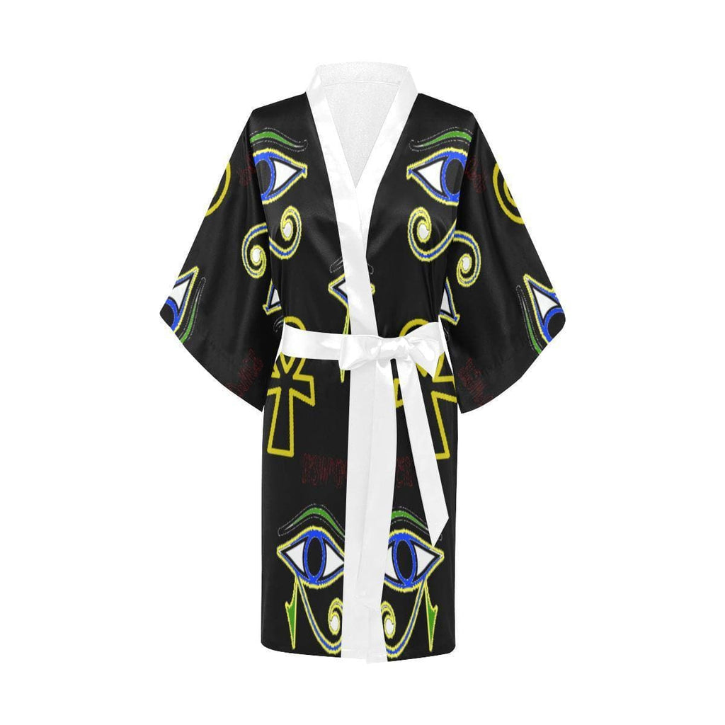 Power Clothing Women's Short Kimono Robe - Tie-Fly