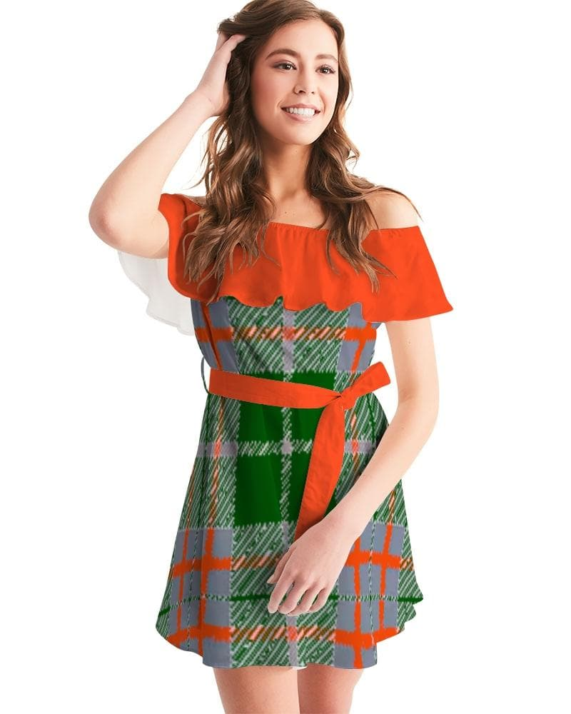 Tribute to Plaid  Women's Off-Shoulder Dress - Tie-Fly