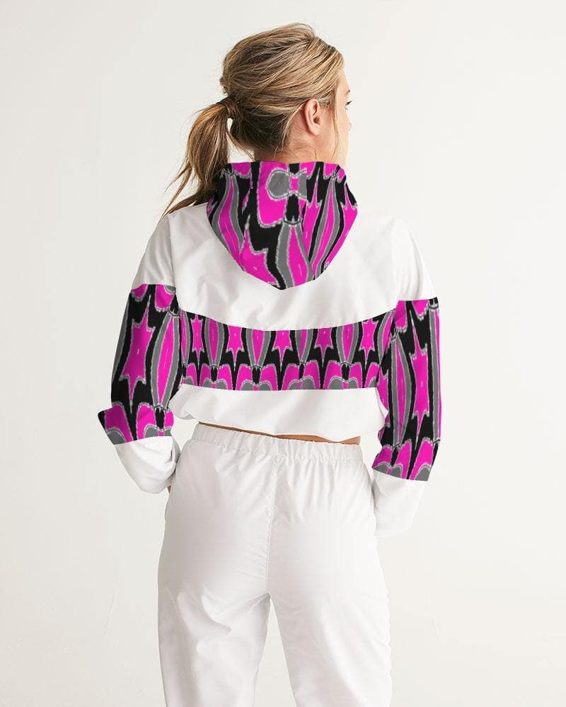 Pink Star  Women's Cropped Windbreaker - Tie-Fly
