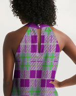 Load image into Gallery viewer, Tribute to Plaid Women's Halter Dress - Tie-Fly
