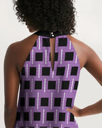 Load image into Gallery viewer, Royal Geo 2 Mini Women's Halter Dress - Tie-Fly