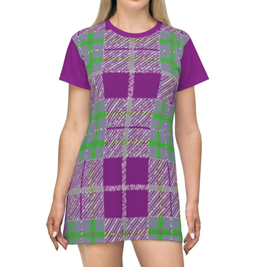Tribute to Plaid T-shirt Dress - Purple, All Over Prints -tie - fly