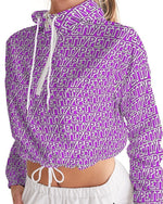 Load image into Gallery viewer, Petty Repeat - Purple Women's Cropped Windbreaker - Tie-Fly