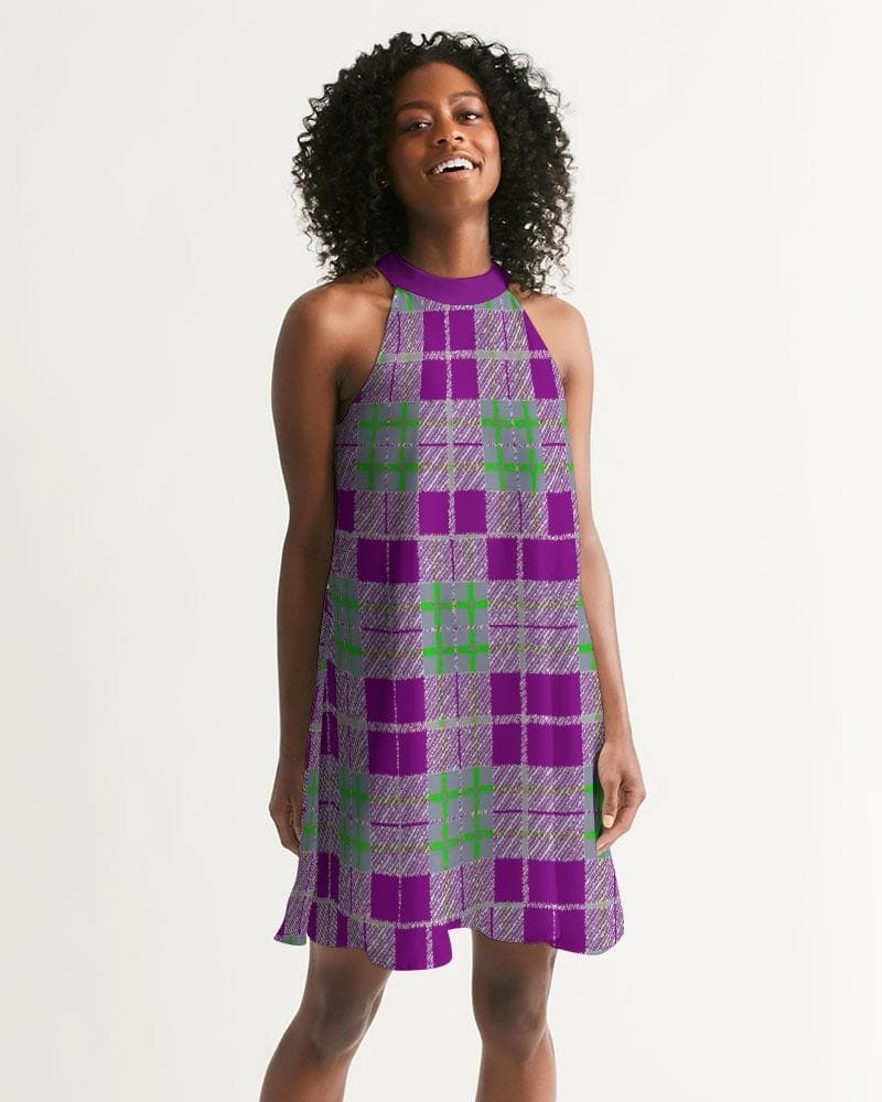 Tribute to Plaid Women's Halter Dress - Tie-Fly