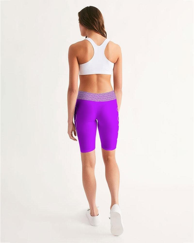Petty Repeat - Purple Women's Mid-Rise Bike Shorts