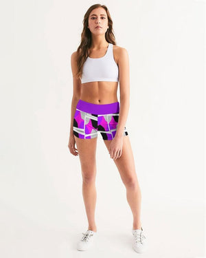 Royal Spread  Women's Mid-Rise Yoga Shorts - Tie-Fly