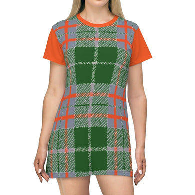 Tribute to Plaid T-shirt Dress, All Over Prints -tie - fly