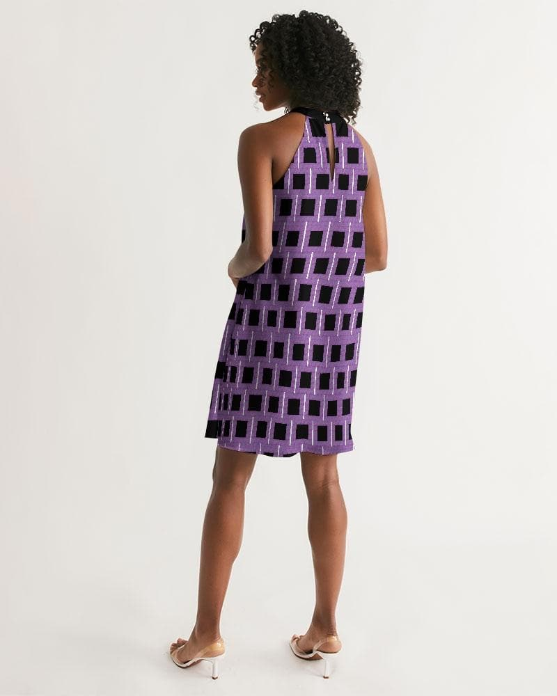 Royal Geo 2 Mini Women's Halter Dress - TFC&H Co.