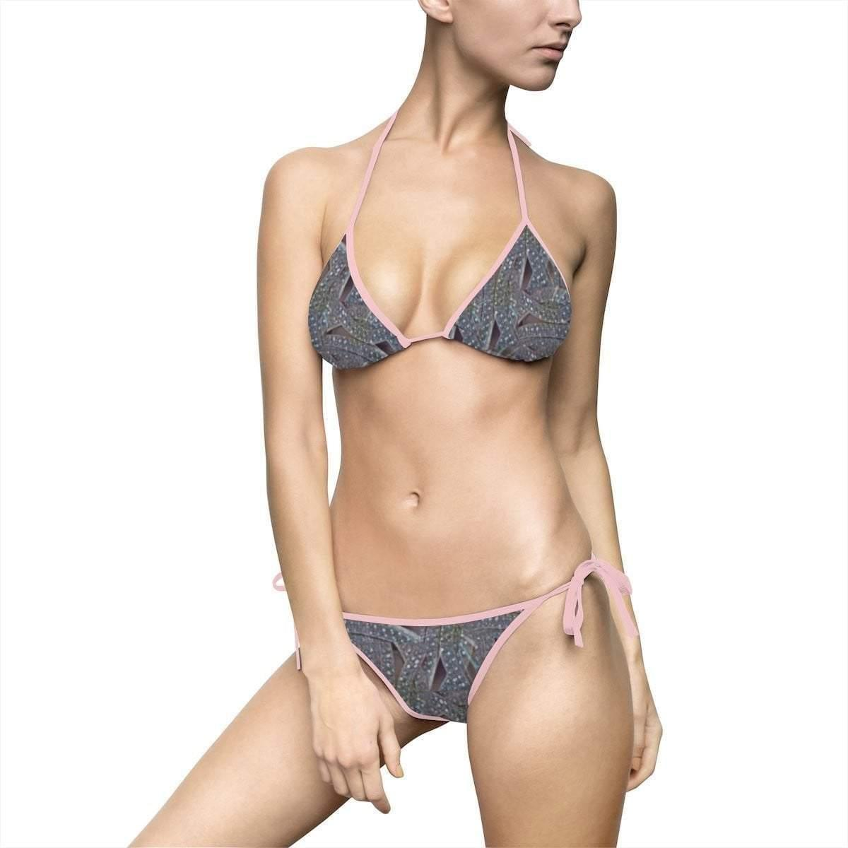 Geometric Women's Bikini Swimsuit Voluptuous (+) Size Available - Tie-Fly