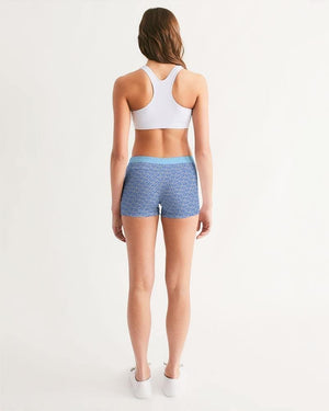 Petty Repeat - Blue Women's Mid-Rise Yoga Shorts