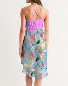 Midnight Floral  Women's High-Low Halter Dress - Tie-Fly