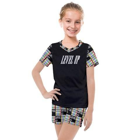 Level Up Kids Girls' Mesh Tee & Short Set - Tie-Fly