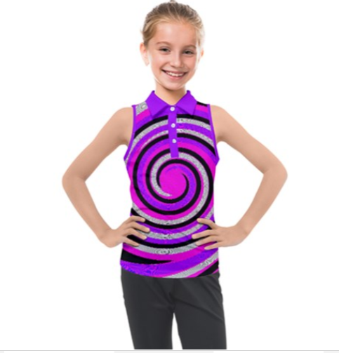 Royal Swirl Girl's Sleeveless Polo - Tie-Fly